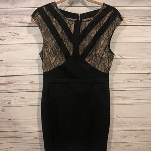 Black nude and lace black BeBe dress size 10